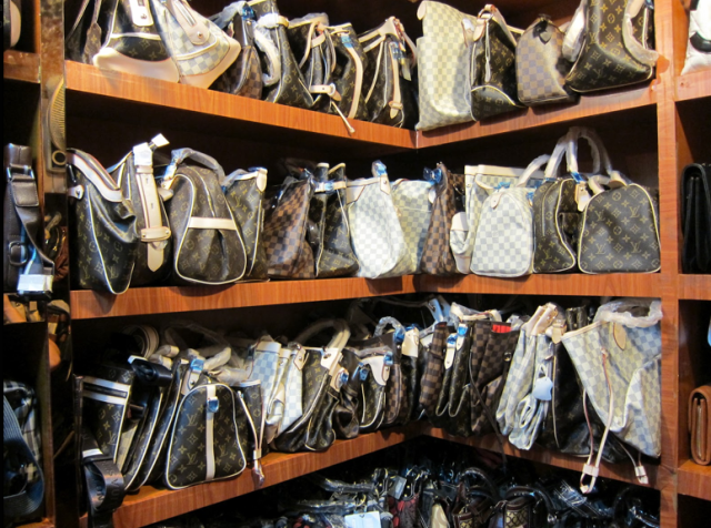 Fake bags in a fake market.